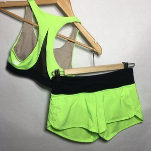 Lululemon Seawheeze Zippy Green LOT Bra Short 2 4